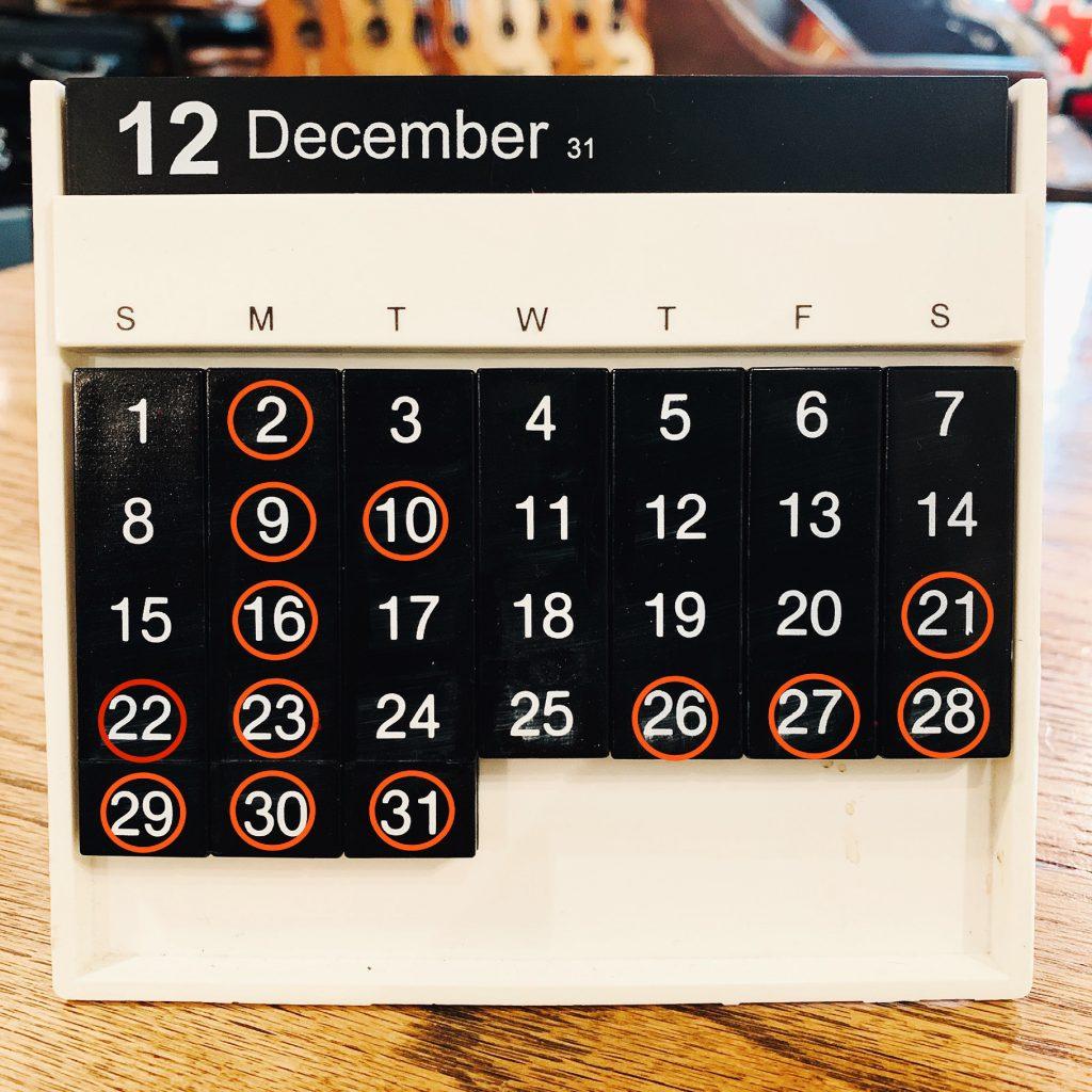 Shop Schedule 2019.12月