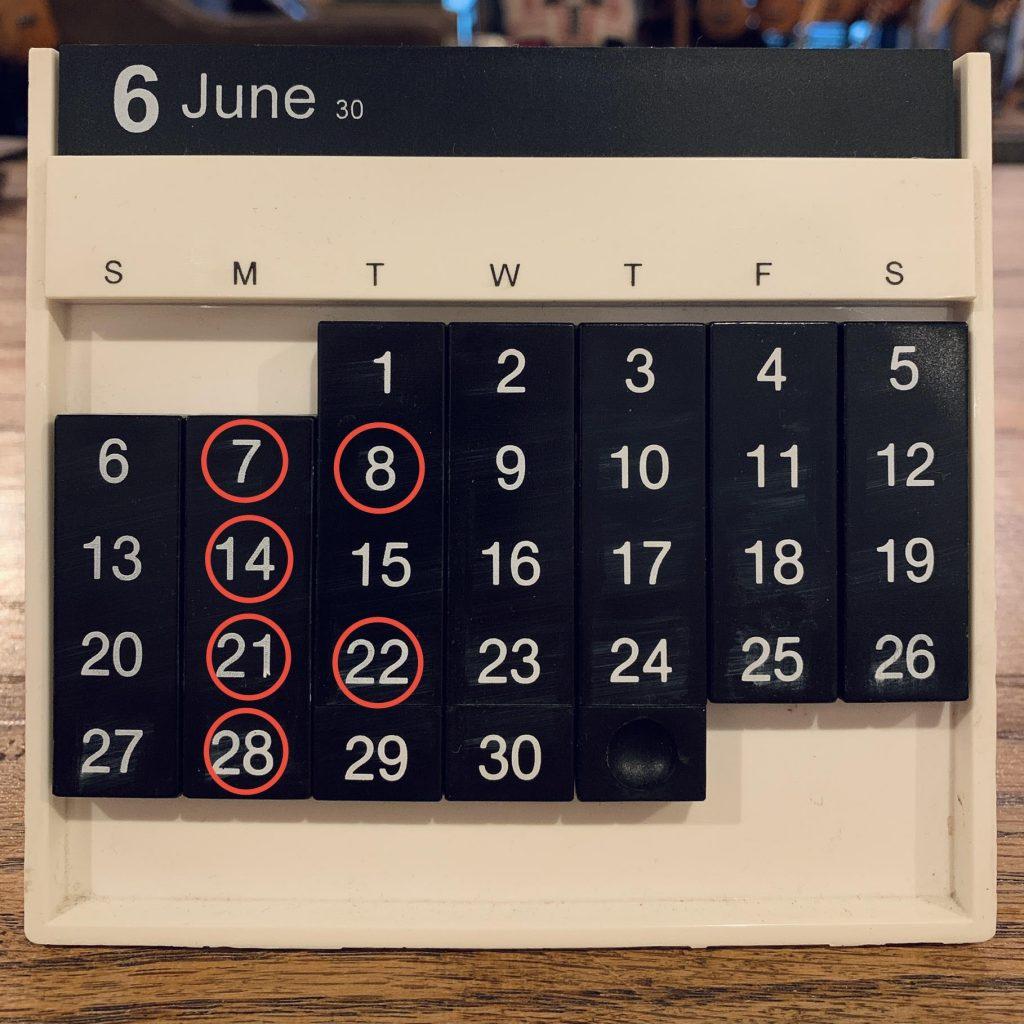 Shop Schedule 2021年6月