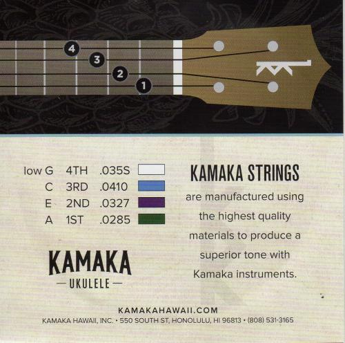 Kamaka Ukulele Strings -Tenor 4 String Low G